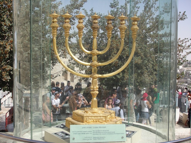 A replica of the Menorah from the 2nd Temple in Jerusalem.
