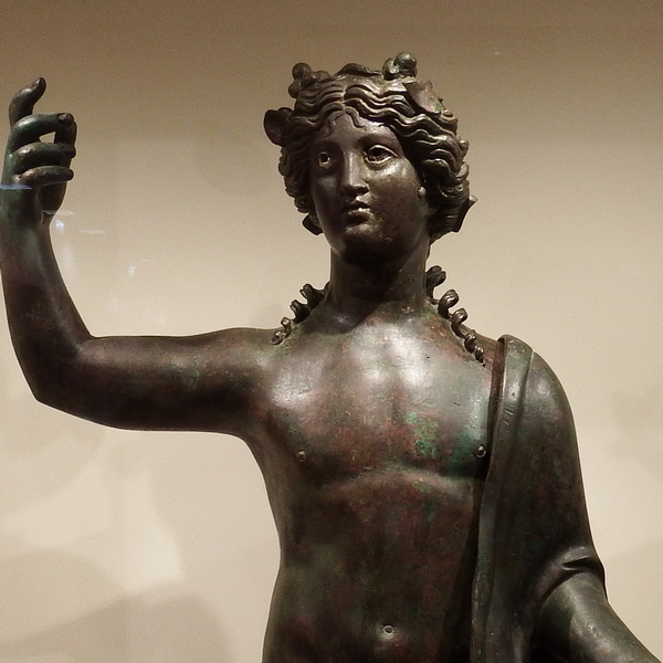The Greek deity Dionysus, known to the Romans as Bacchus and identified with the Phoenician god Tammuz. This statue is on display at the Bible Lands Museum in Jerusalem.