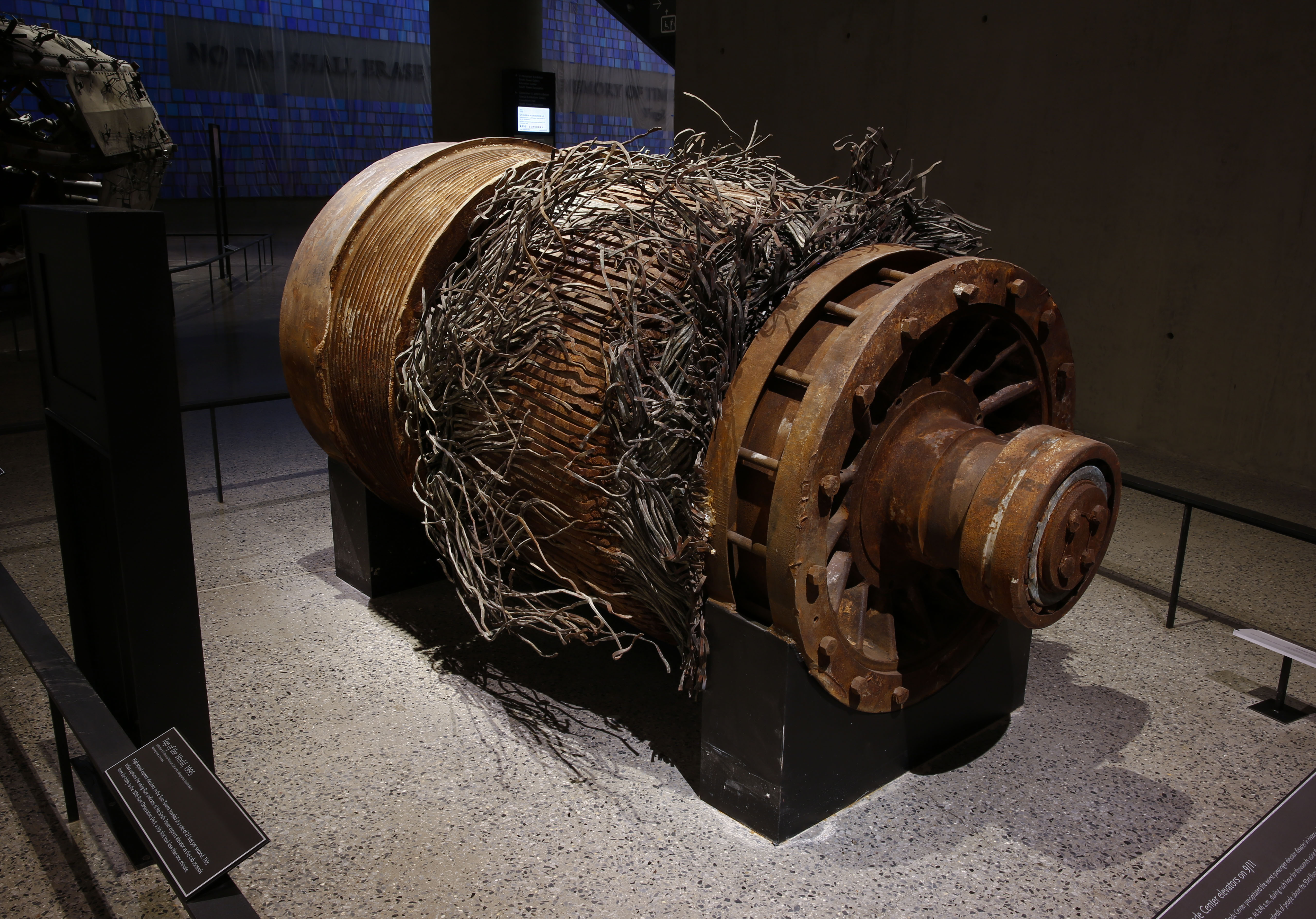 The remains of an elevator motor from the Twin Towers. - Photo Courtesy of 9/11 Memorial & Museum
