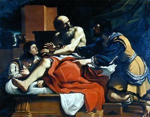 Jacob, Ephraim, and Manasseh Painting - The Original Torah Pearls Vayechi (Genesis 47:28-50:26)