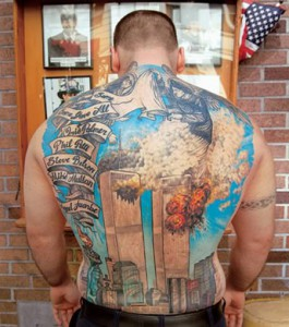 A tattoo commemorating victims of 9/11. Tattoos for the dead predate the Torah and are forbidden in Leviticus 19:28.